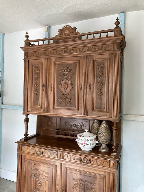 Beautifully Carved Chestnut French Dresser, vintage secondhand furniture at Source for the Goose