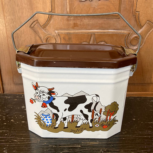 Vintage French Enamel Sandwich Tin, vintage collectibles at Source for the Goose, Devon