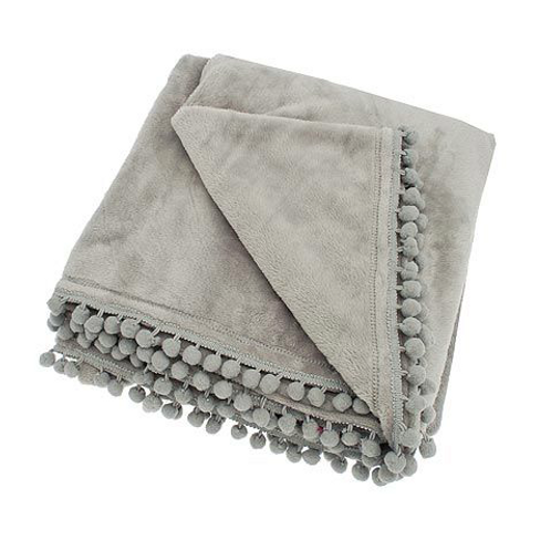 Cashmere Touch Throw in Light Grey with pom poms, unique homewares at Source for the Goose, Devon