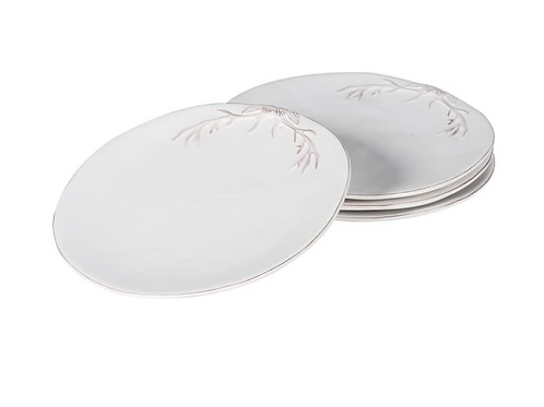White side plates with rustic antler design, unique homewares at Source for the Goose, South Molton, Devon
