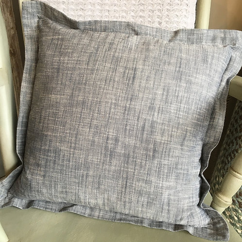 Flint blue cotton chambray cushion, shabby chic style at Source for the Goose