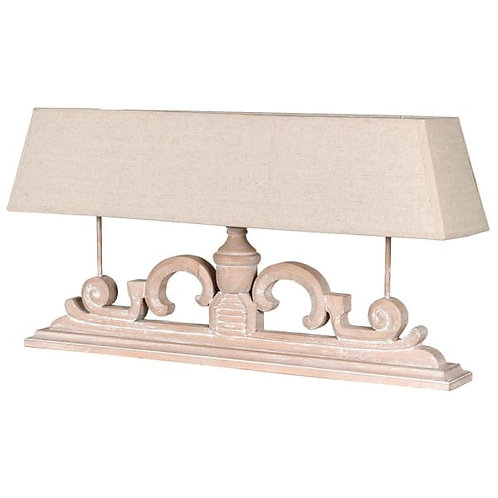 Triple Bulb  Wooden Table Lamp with Linen Shade at Source for the Goose Interiors
