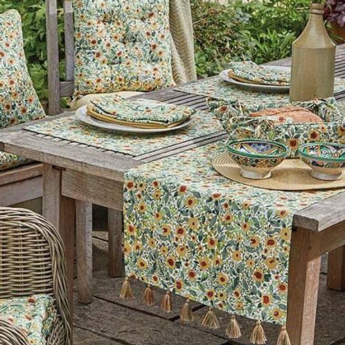 Wildflower Design Table Runner with Tassels