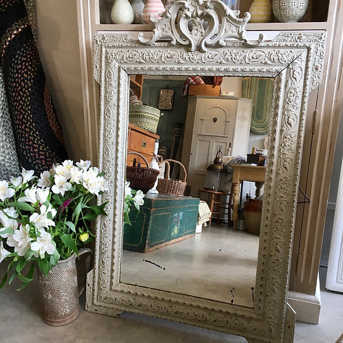 Ornate framed french mirror in a stone coloured distressed frame, shabby chic interiors at Source for the Goose