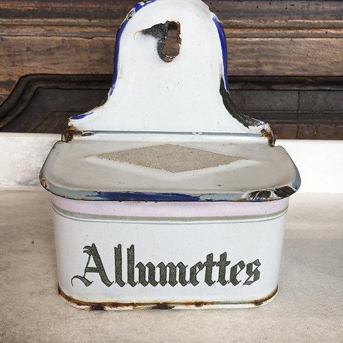 Vintage French enamel Allummettes hanging tin, vintage homewares at Source for the Goose, Devon