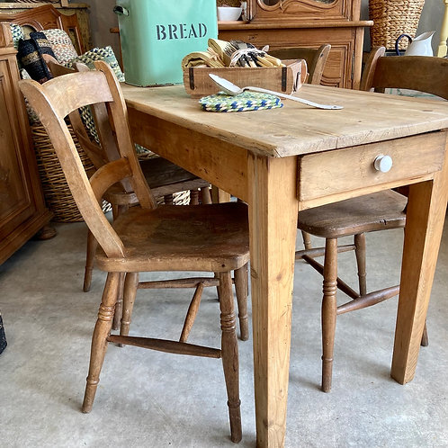 Rustic Pine Table and Four Elm Chairs, vintage furniture at Source for the Goose, Devon