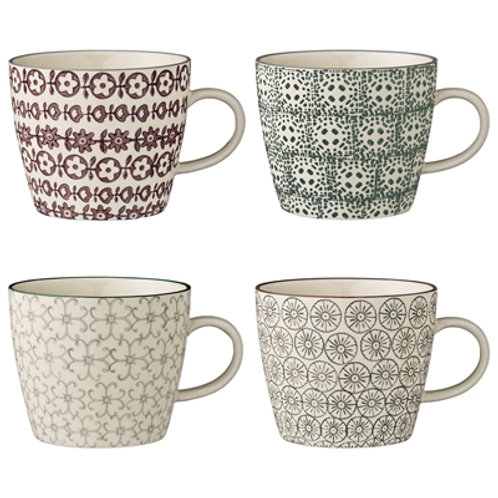 Set of Four Pretty Floral Stoneware Mugs, scandi style interiors from Bloomingville at Source for the Goose, Devon