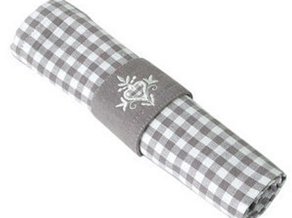 Set of Four Auberge Check Napkin and Ring