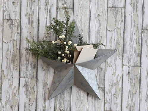 Large Zinc Wall Star with pocket to add seasonal decoration, christmas interiors at Source for the Goose, Devon