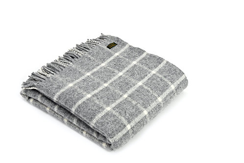Tweedmill Chequered Check Grey Pure New Wool Blanket, hygge interiors at Source for the Goose, South Molton, Devon