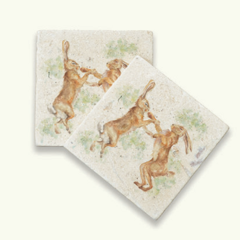 Kate of Kensington Boxing Hares marble coasters, country style interiors at Source for the Goose