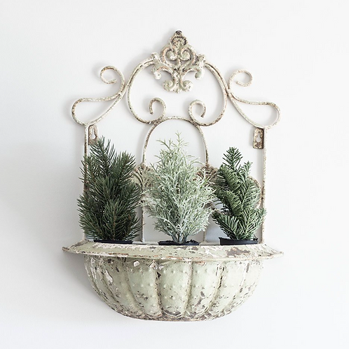 Cream distressed Vintage Style Wall Planter