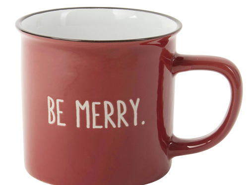 Red 'Be Merry' Ceramic Mug with white inscription, Christmas lifestyle shop at Source for the Goose, Devon