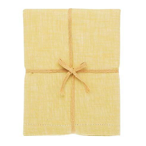 Cotton Chambray Tablecloth in Saffron yellow at Source for the Goose