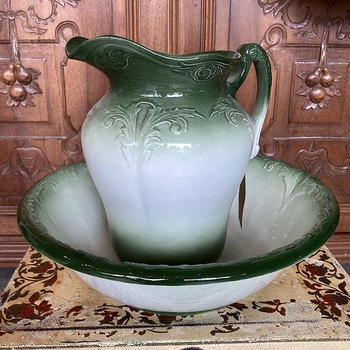 Vintage Green Jug and Bowl Washstand Set