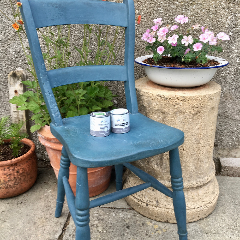 Painted chair in Annie Sloan Aubusson Blue using project pot of Chalk Paint and Wax