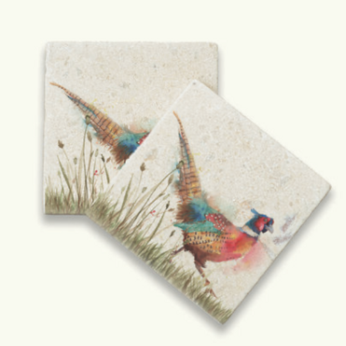 Kate of Kensington Pheasant in Grass marble coasters, country style interiors at Source for the Goose