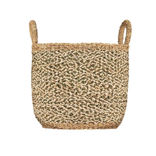 Olive/White Braided Jute Log Basket, The Braided Rug Company homewares at Source for the Goose, Devon