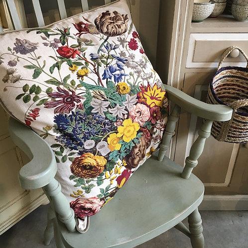 A large summer themed botanical design cushion,  unique homewares at Source for the Goose, South Molton, Devon