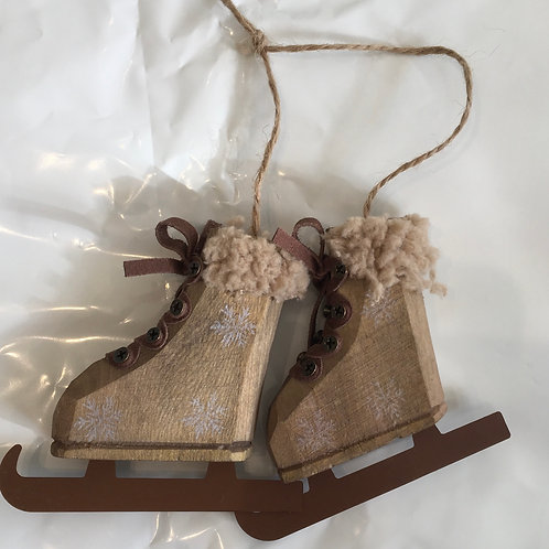 Hanging Wooden Rustic Ice Skates, christmas interiors at Source for the Goose, South Molton, Devon