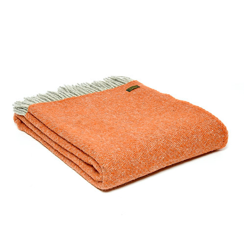 Tweedmill Lifestyle Boa Pure New Wool Blanket in Pumpkin, rustic orange throw at Source for the Goose , Devon