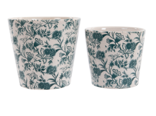 Small Vintage Floral Design in Green Plant Pot