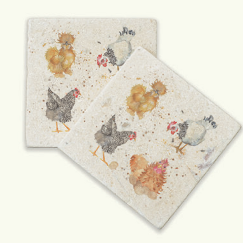 Kate of Kensington British Collection Hens marble coasters, country interiors at Source for the Goose