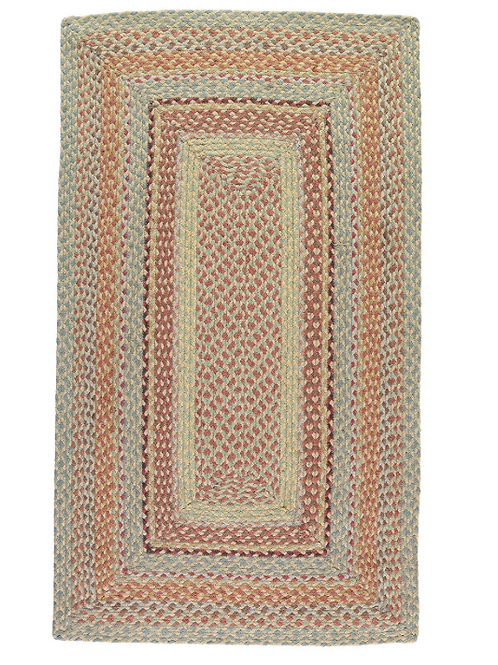 Rectangle Braided Rug in Pampas, a muted sunny colour way, at Source for the Goose, South Molton