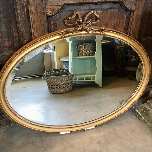 Vintage Oval Gilt Framed Mirror with bow design detail, vintage interiors at Source for the Goose, Devon