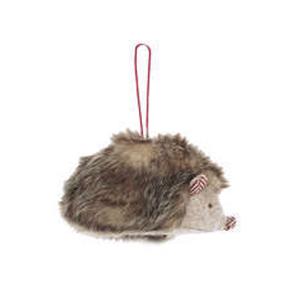 Furry Christmas Hedgehog hanger with red trim nose and ears,  christmas interiors at Source for the Goose, Devon