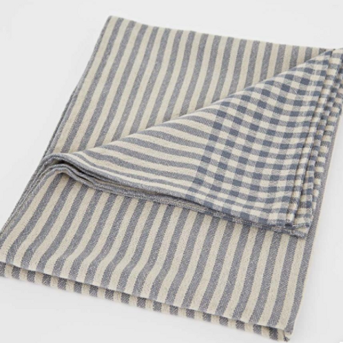 Weaver Green Blue Stripe Toulouse Tablecloth at Source for the Goose