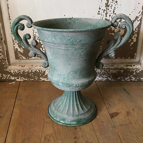 Small Green Shabby Chic Urn or Plant Pot with Handles, at Source for the Goose, Devon