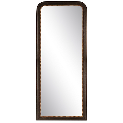 Tall Black with Gold Rim Wall Mirror, vintage style interiors at Source for the Goose, Devon