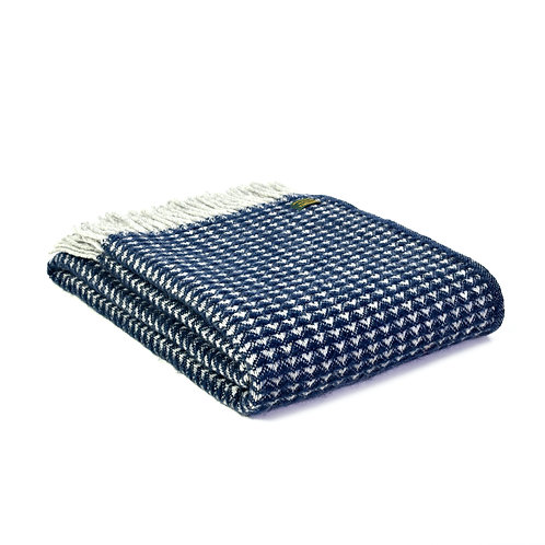 Tweedmill Navy and Grey Treetop design blanket with tassels, rustic interiors at Source for the Goose, Devon