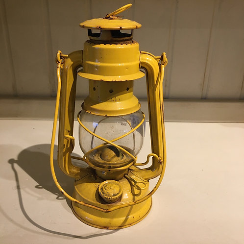Vintage Yellow Tilley Lantern with a slightly distressed finish,  lifestyle shop at Source for the Goose, Devon