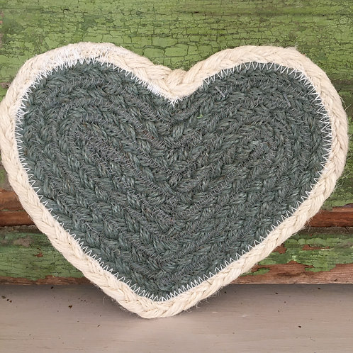 Heart Shaped Coaster in colour way Thistle, Braided Rug products to buy in Devon