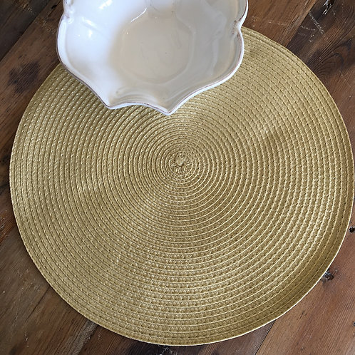 Sunny Ochre colour circular ribbed placemat, interiors styling at Source for the Goose