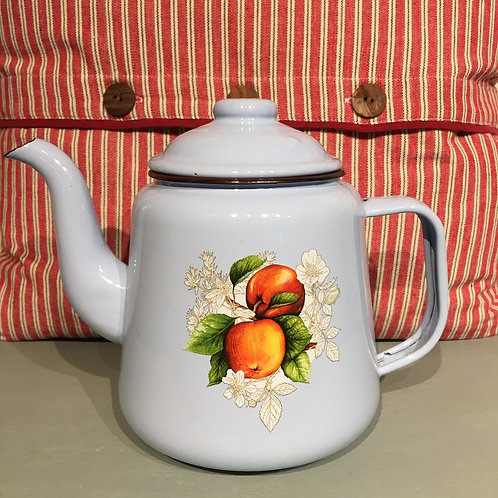 Pretty Blue French Enamel Teapot with a fruit transfer design, french style homewares at Source for the Goose, Devon