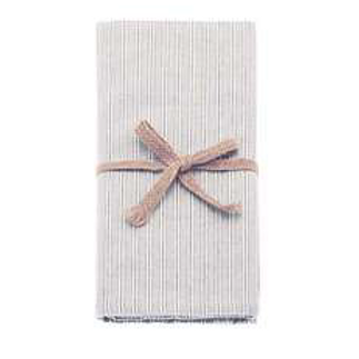 Set of Four County Ticking Cotton Napkins in grey and porcelain stripe, Waltons of Yorkshire homewares
