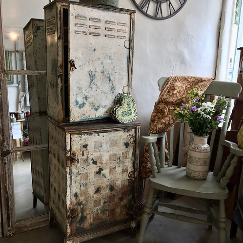 Rare double height meat safe or larder in a distressed original painted finish, secondhand furniture at Source for the Goose