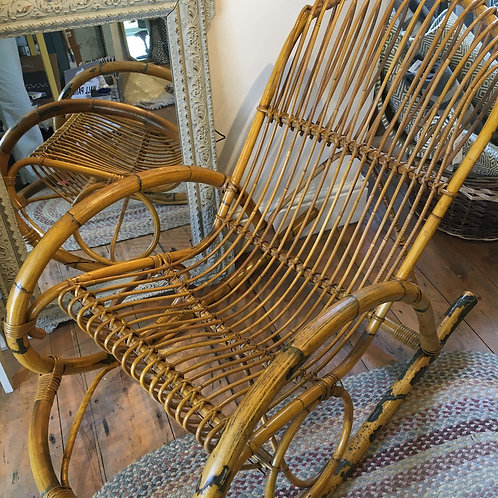 1960s mid century cane rocking chair, in the style of Franco Albini, vintage secondhand furniture at Source for the Goose