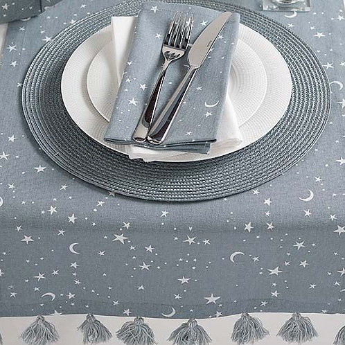 Twilight Grey Table Runner with stars and moons design and tassels, interiors at Source for the Goose
