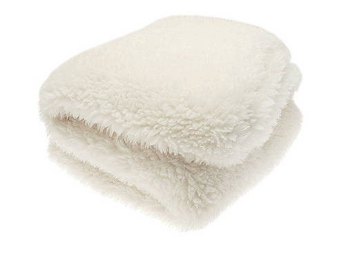 Beautifully Soft Faux Alpaca Throw in warm white, winter interiors at Source for the Goose, Devon