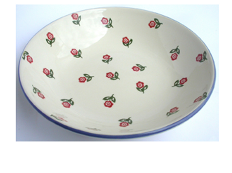 Brixton Pottery Scattered Rose Serving Plate, country style interiors and homewares at Source for the Goose, Devon