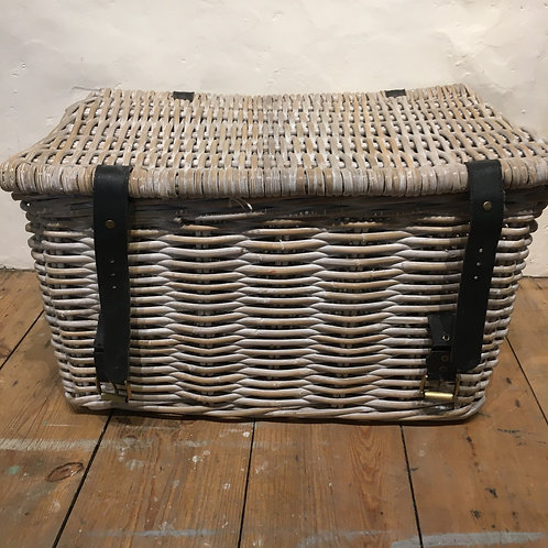 Lidded Storage Basket With Straps, vintage interiors at Source for the Goose, Devon