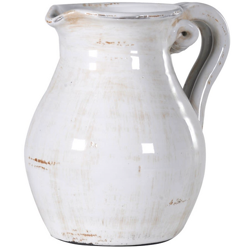 White jug with crackle glaze, interiors at Source for the Goose, Devon