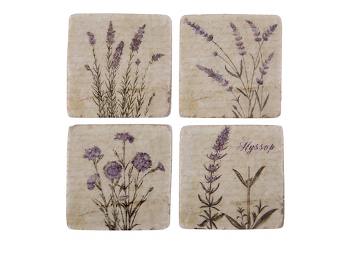 Set of Four Wild Flower Coasters, vintage style homewares at Source for the Goose