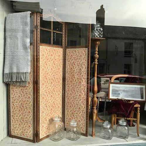 Antique French room divider or screen, with tapestry fabric base and bevelled glass on top