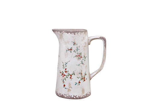 Pretty vintage look flowered jug  on cream background, shabby chic interiors at Source for the Goose