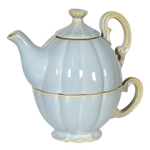 Charming Blue French Style Teapot and Cup Set, interiors at Source for the Goose, Devon